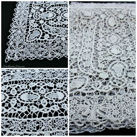 antique italian reticella needle lace table place mats set