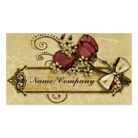 antique business card template antique flowers sided standard business cards pack