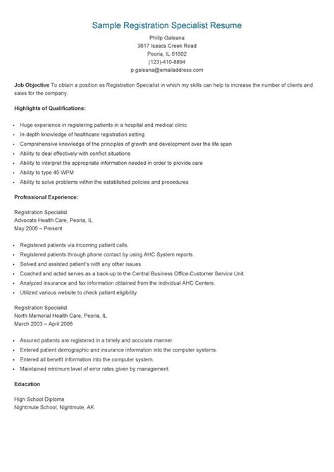 Resume Specialist by Sle Registration Specialist Resume Resame