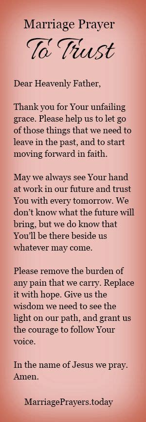 Wedding Anniversary Prayer Quote by A Marriage Prayer To Trust God With Your Future
