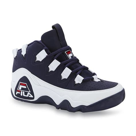 high basketball shoes fila s 95 white navy high top basketball shoe