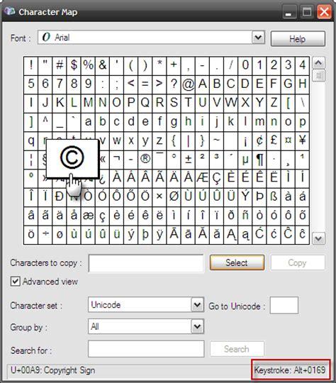 how to create copyright and trademark symbols via