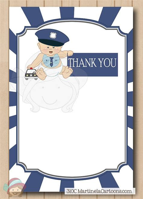 printable thank you card for police officer printable police baby shower invitation thank you note
