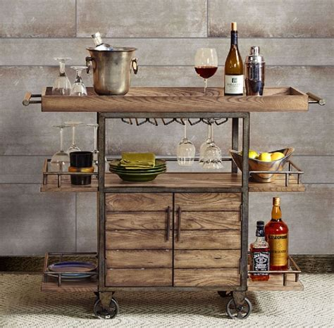 Rolling Kitchen Island Cart by Rustic Bar Cart Portable Serving Tray Wine Beverage Drink