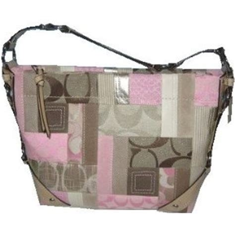 Pink Patchwork Coach Purse - coach patchwork signature shoulder sac bag purse