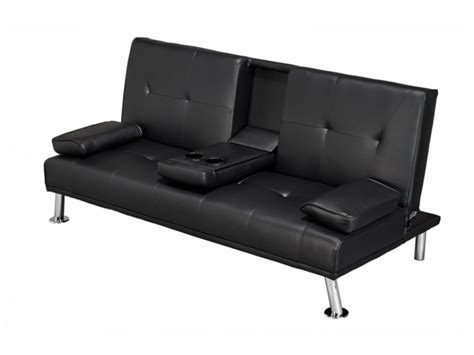 Luciana Cinema Fold Down Sofa Bed Black Faux Leather Cinema Sofa Bed