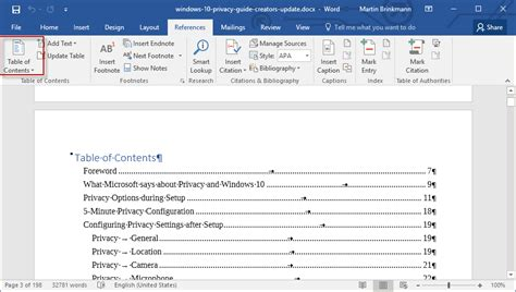 Table Of Contents On Word by How To Add A Table Of Contents To A Word 2016 Document