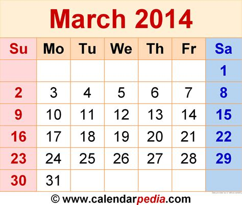 Calendar March 2014 March 2014 Calendars For Word Excel Pdf