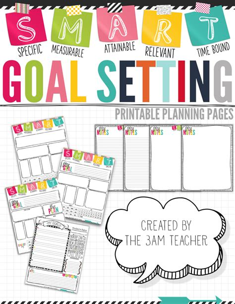 term planner template s m a r t goal setting printable pages term goals