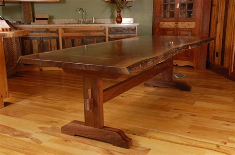 slab dining room table custom made live edge walnut slab trestle dining table