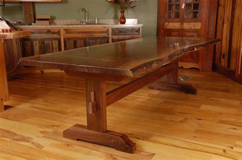 live edge kitchen table custom made live edge walnut slab trestle dining table