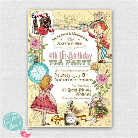 printable birthday invitations etsy vintage alice in wonderland printable birthday invitation
