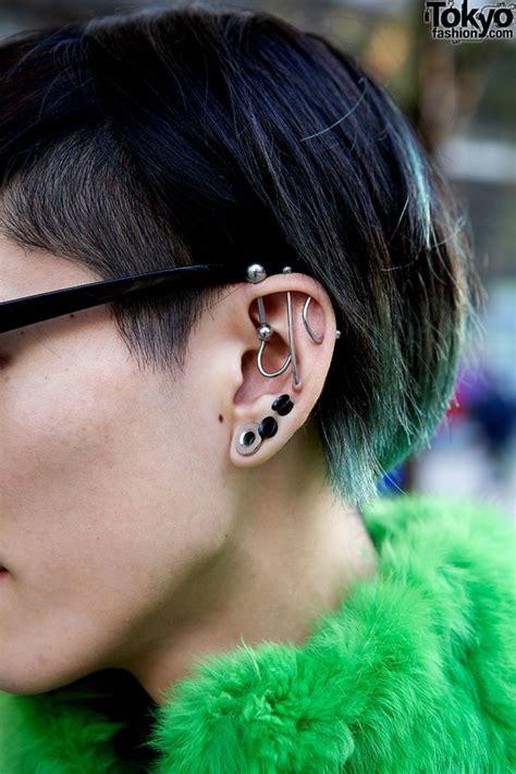 dogs with ears pierced striking tokyo w green faux fur prada handmade items