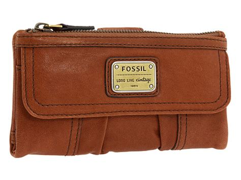 Fossil Wallet saddle fossil emory clutch zip leather wallet
