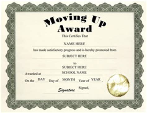 moving up certificate templates billy bears free printable personalized award certificates