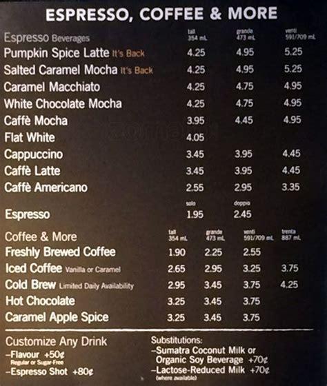 and bucks menu starbucks menu menu for starbucks yorkville toronto