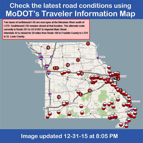 modot road conditions map modot on quot modot s traveler information map at https t co aw5lfy964w or call 1 888 ask