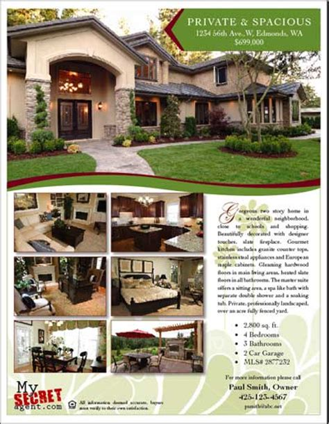real homes template for sale by owner flyer for and daily selling
