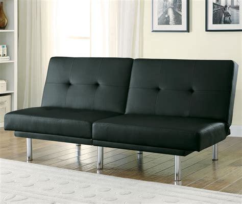 split sofa bed 300209 black leatherette split back sofa bed from coaster