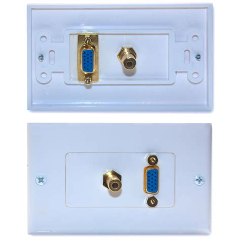 Plate Vga Stereo white wall plate vga 3 5mm stereo cablewholesale