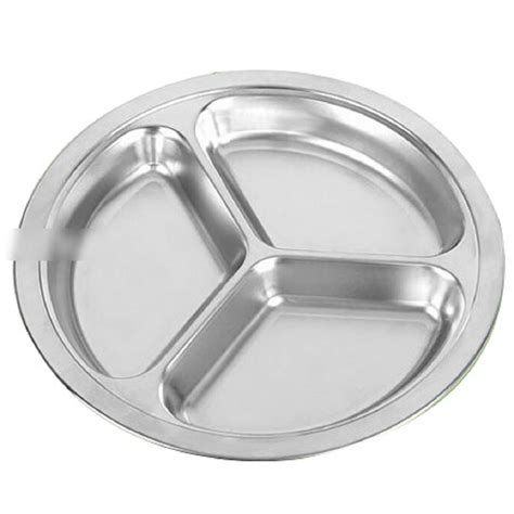 section plates for adults 1pcs 3 sections stainless steel students grid dinner plate