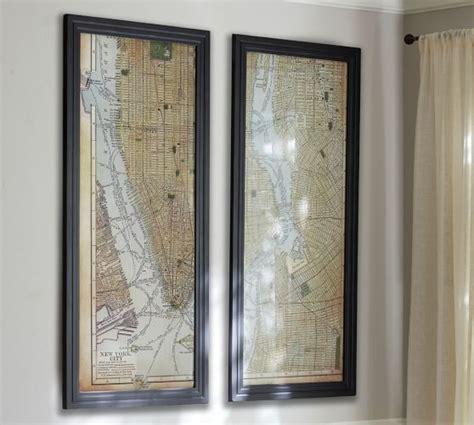 map of new york city framed framed new york city map dyptich pottery barn
