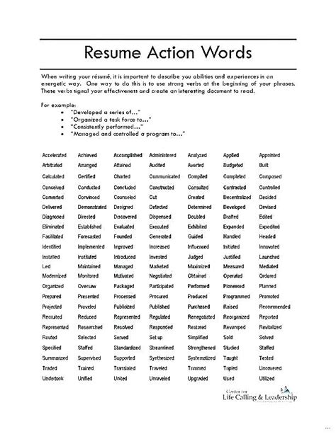 Strong Resume Words Resume Strong Verbs For Resumes
