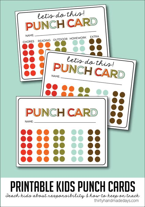 punch card template student chores charts for the 36th avenue