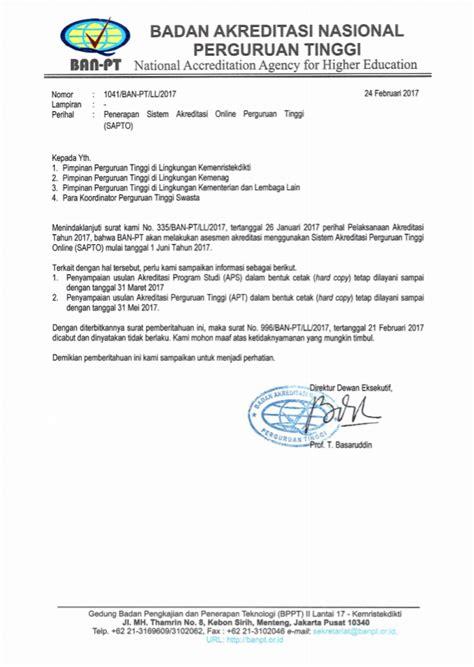 Surat Akreditasi Ban Pt Untuk Cpns by Edaran Baru Ban Pt Tentang Penerapan Sistem Akreditadi