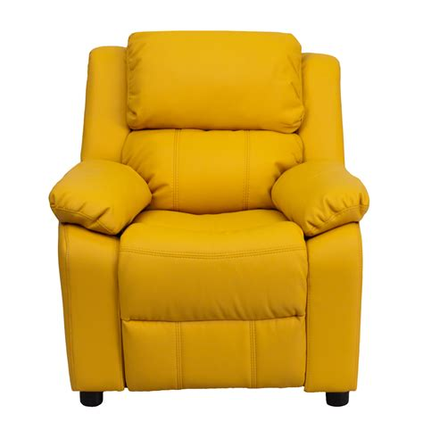Yellow Recliner by Deluxe Heavily Padded Yellow Vinyl