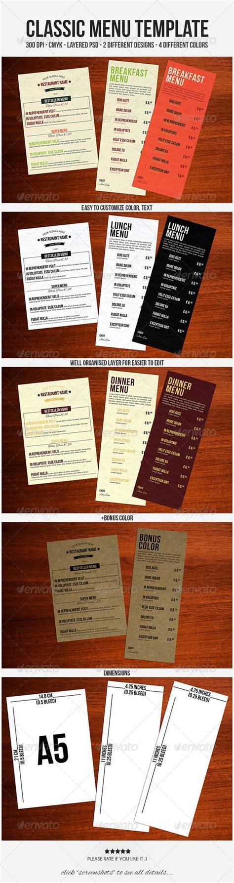 a5 menu template classic menu template and food menu on