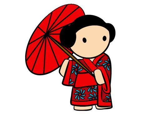 imagenes de japoneses animados dibujo de geisha con sombrilla pintado por arlish en