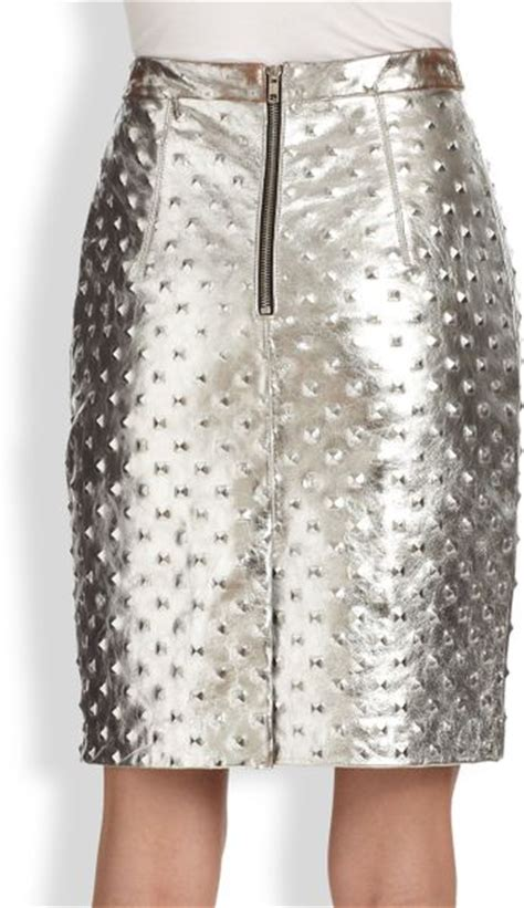 milly studded metallic leather pencil skirt in silver lyst