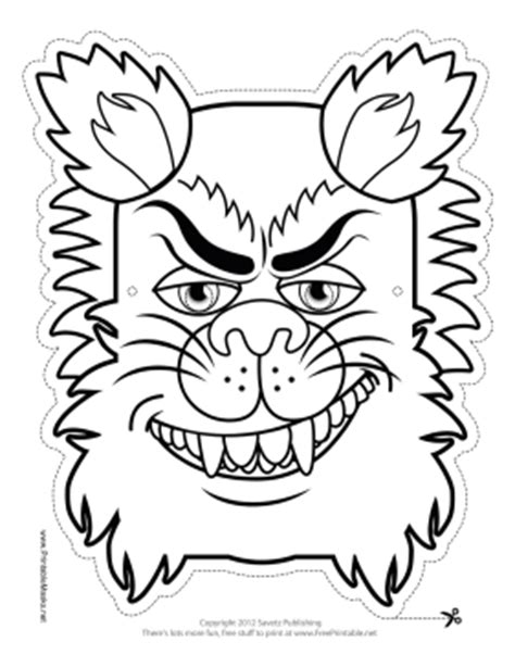 printable monster mask template printable wolfman monster mask to color mask