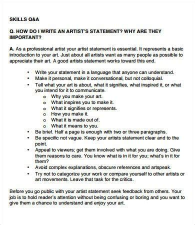 how to be an professional artist artist statement exles 8 free pdf documents download