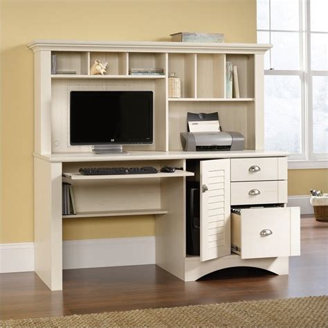 sauder harbor view computer desk with hutch antiqued white computer desk with hutch in antiqued white 158034