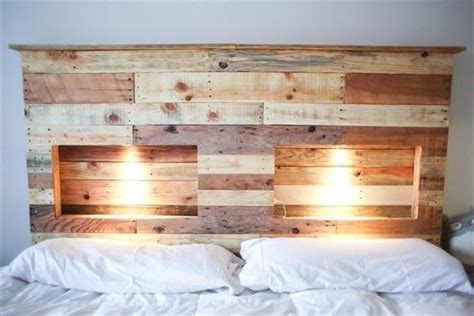 headboards made with pallets diy pallet bed with lights diy and crafts