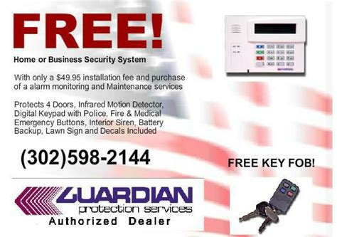 free home and business alarm systems new castle county