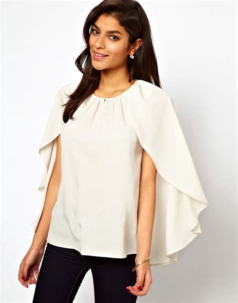 cappe best asos asos top with soft cape sleeve at asos