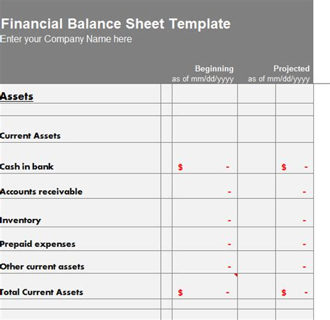 balance sheet template excel financial balance sheet template my excel templates