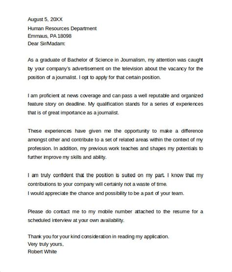 journalism cover letter exles professional cover letter templates 7 sles