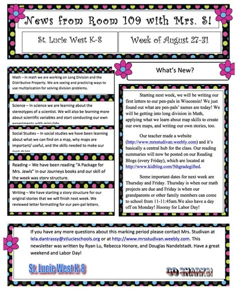 class newsletter welcome to 5th grade with mrs studivan