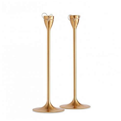 Verra 52205gl 13 Silver Gold vera wang knots gold taper candle holders set of 2