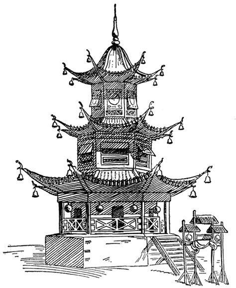 chinese garden coloring pages pagoda clipart etc
