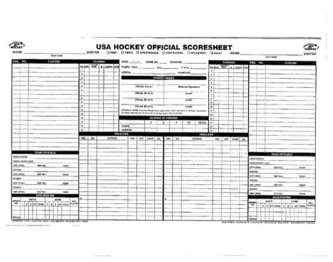 hockey score sheet usa hockey scoresheet for free formtemplate
