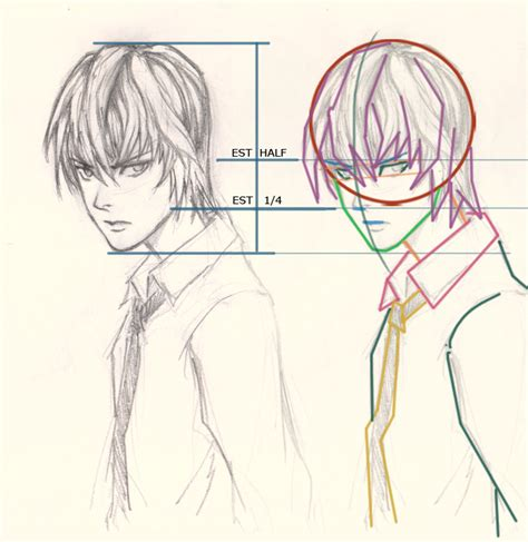 step by step death note near hairstyle how to draw manga light yagami drawing and digital