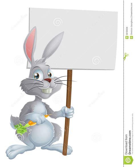 34 Punny White white easter bunny rabbit sign royalty free stock image