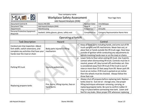 jha template bsi hazard analysis jha documents