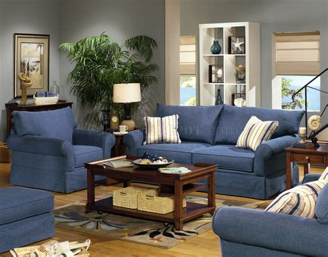 Denim Living Room Furniture Blue Denim Fabric Modern Sofa Loveseat Set W Options
