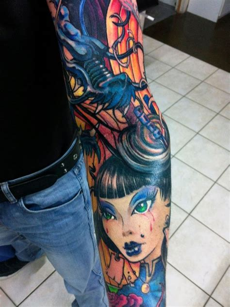 tattoo geisha dragon geisha and dragon sleeve tattoo hand drawn by uptownpete